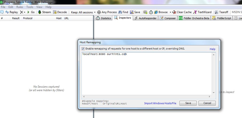 Overriding Hosts file using Fiddler | OurHints